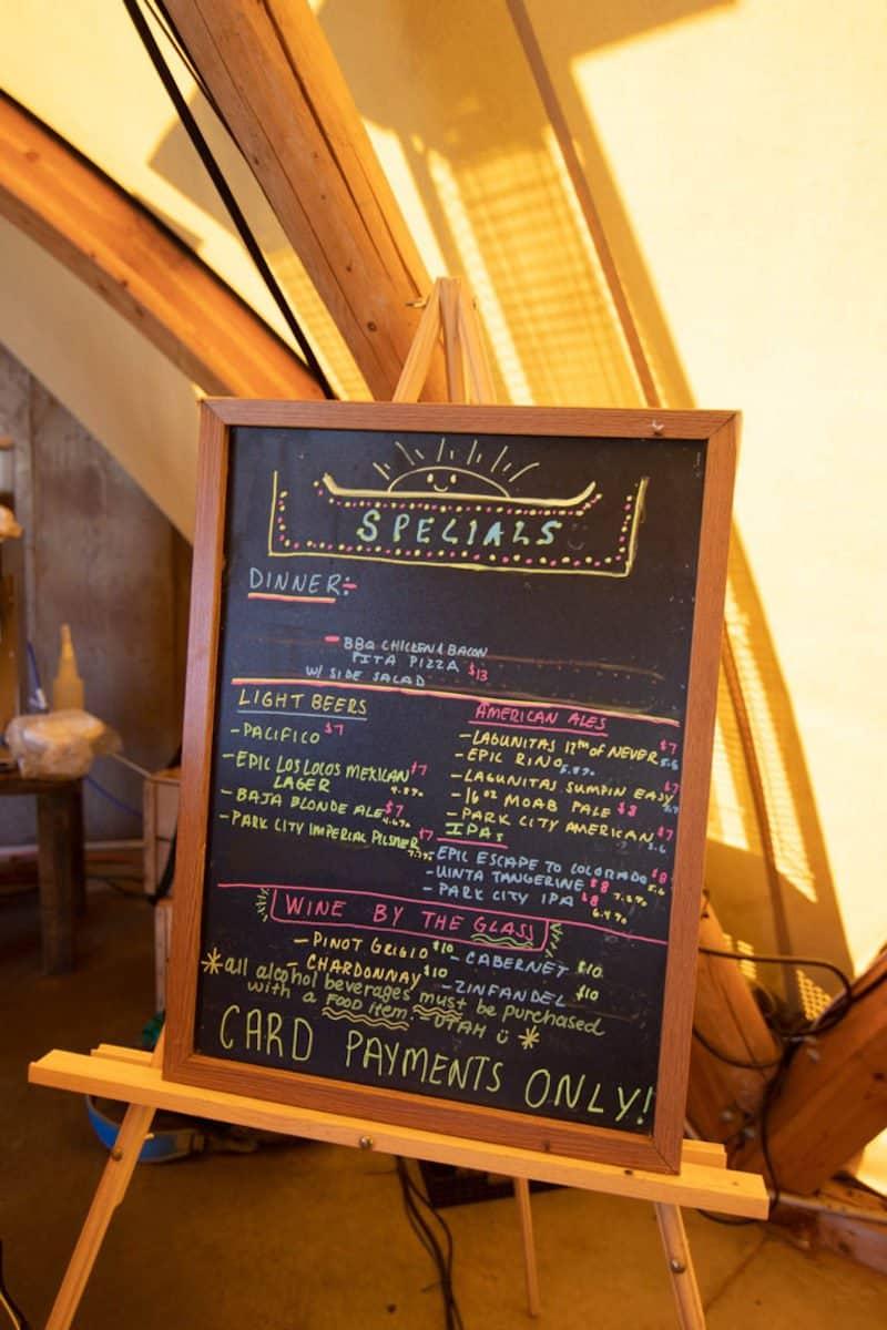 menu under canvas zion