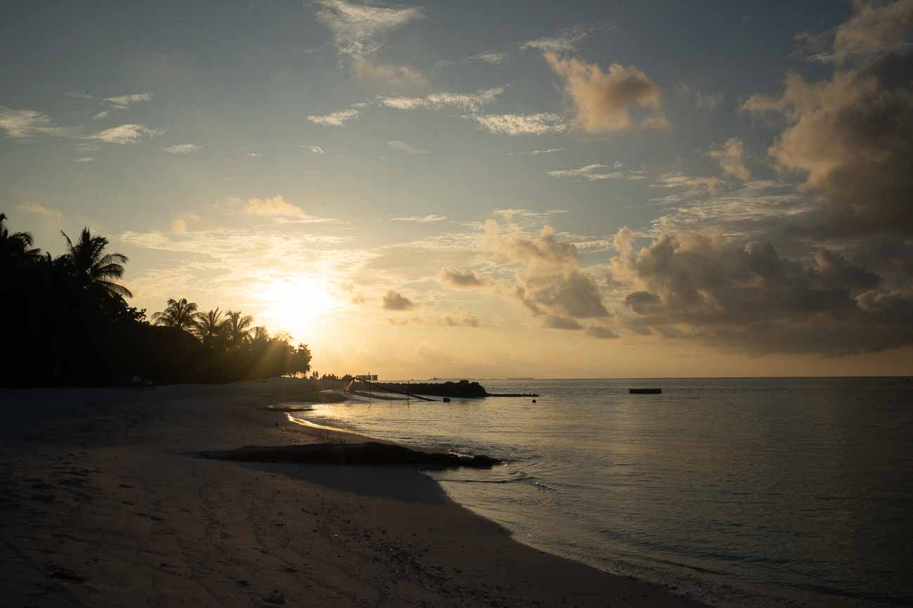 sunset at lux south ari atoll
