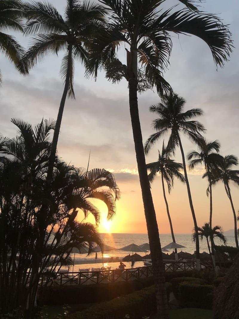 sunset view of hyatt ziva puerto vallarta