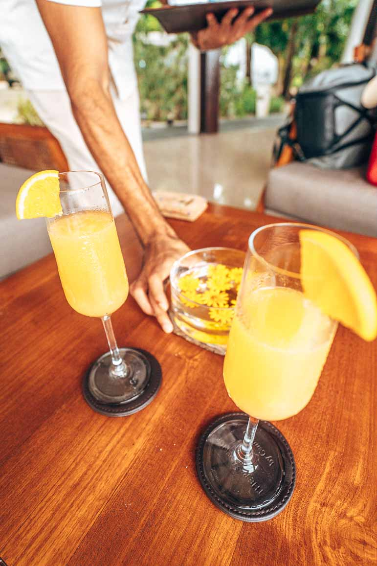 Welcome drinks at The Residence Maldives