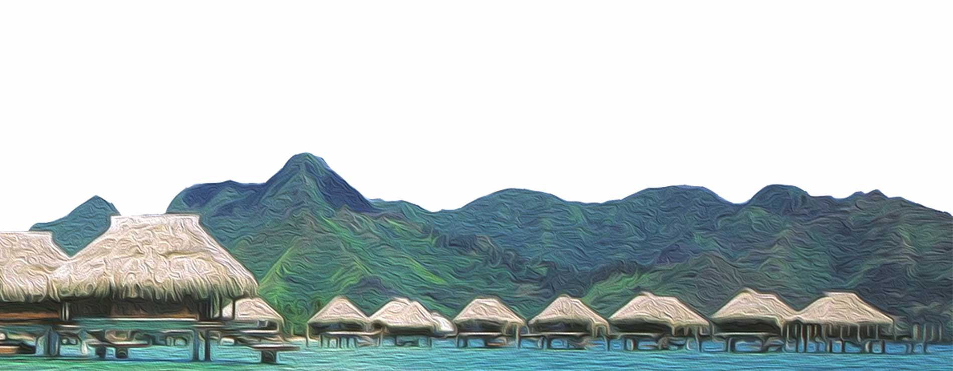 polynesian overwater huts painting