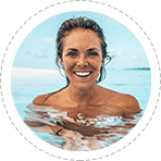 beautiful woman smiling in ocean