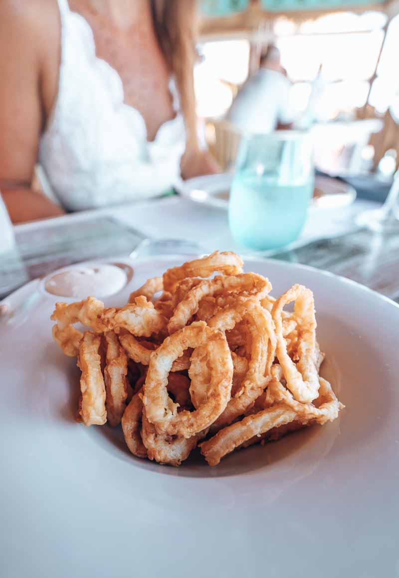 calamari at luxury restaurant