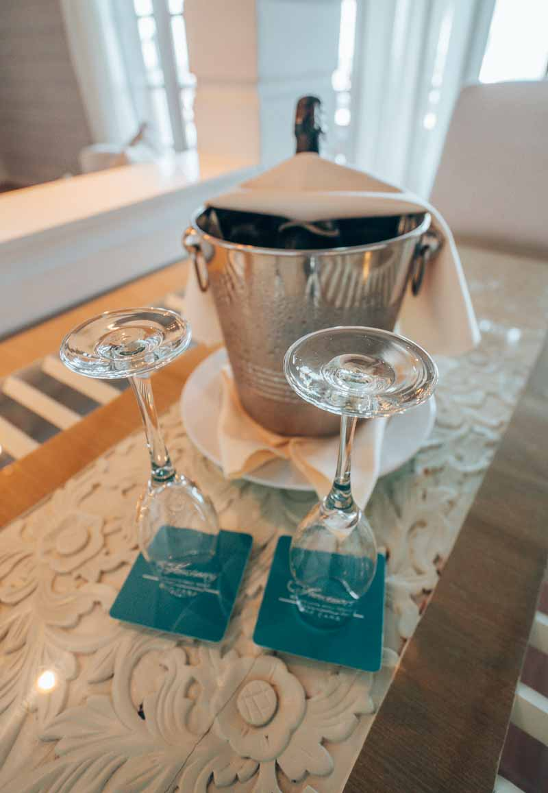 champagne in hotel room sanctuary cap cana