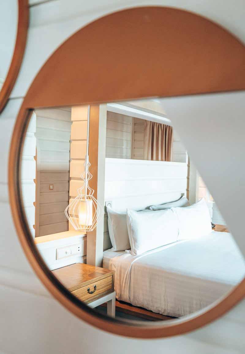 beautiful modern mirror in beach chic room