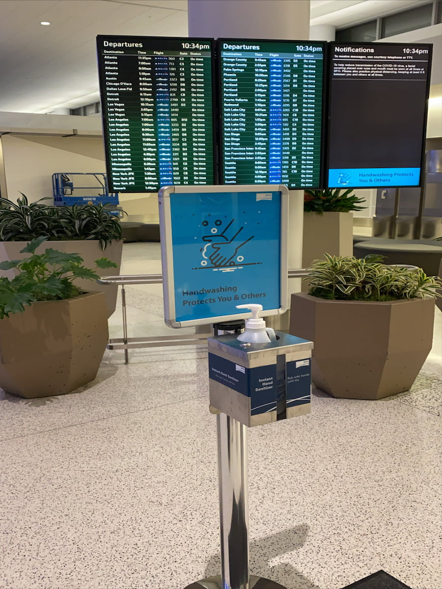 hand sanitizer station sfo airport