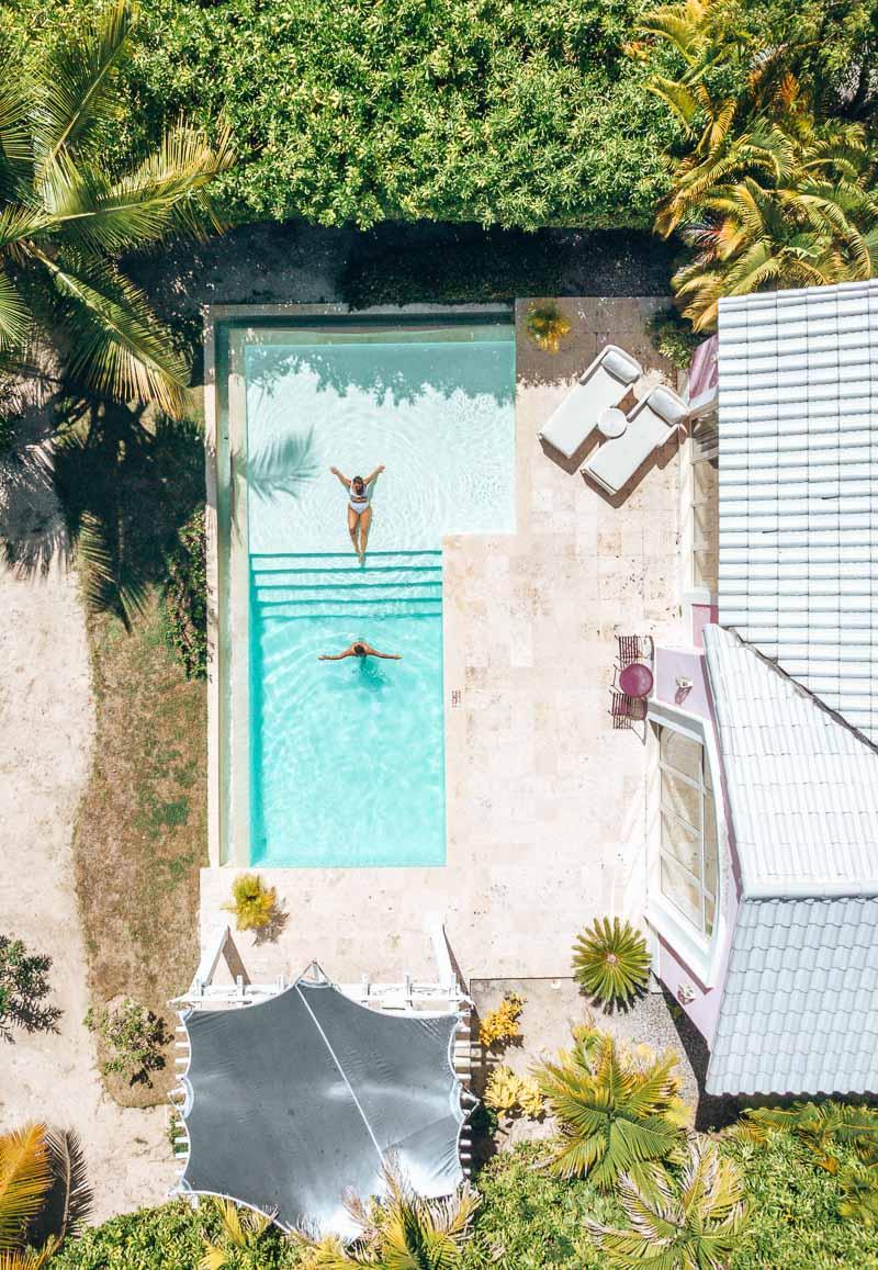 couple in private pool villa