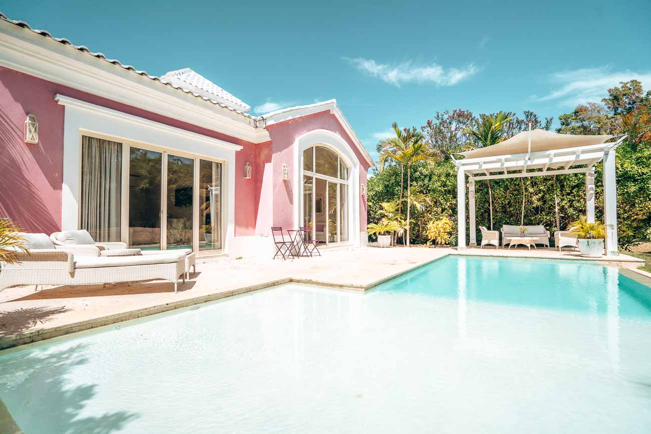 pink pool villa side view
