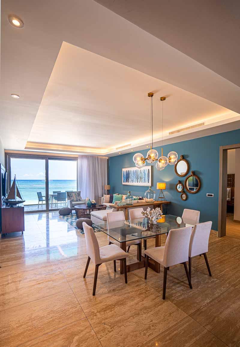 living room hotel suite on beachfront