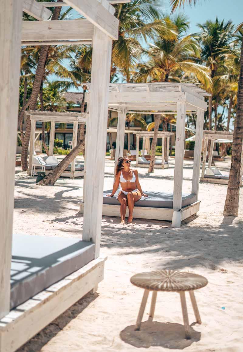 woman relaxing in cabana