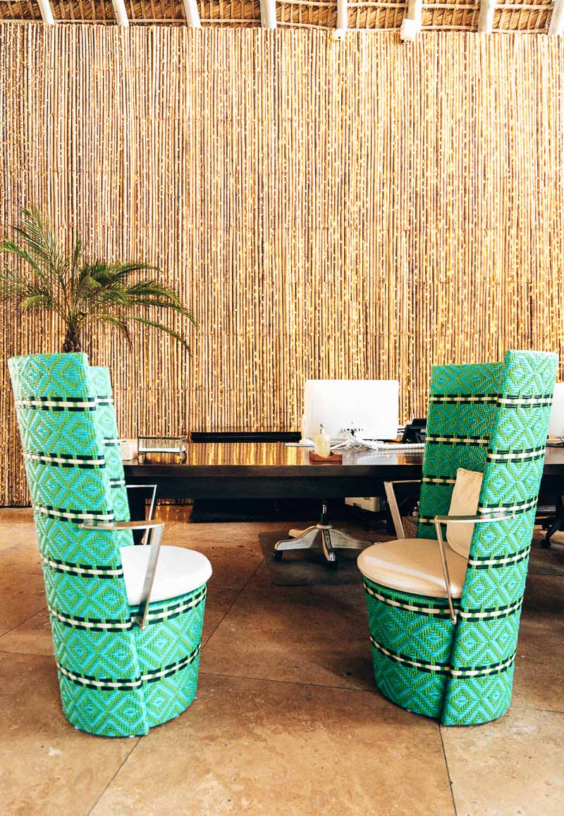 funky lobby chairs in hotel