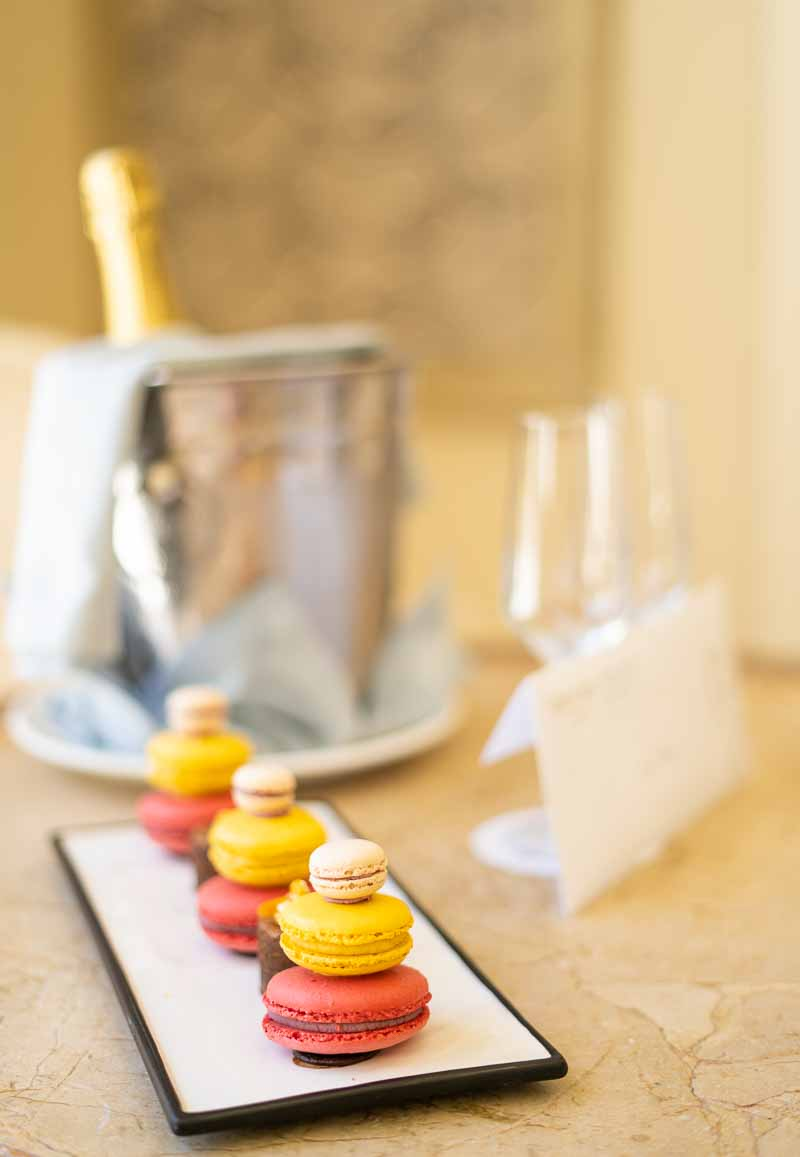 champagne and sweets from hotel