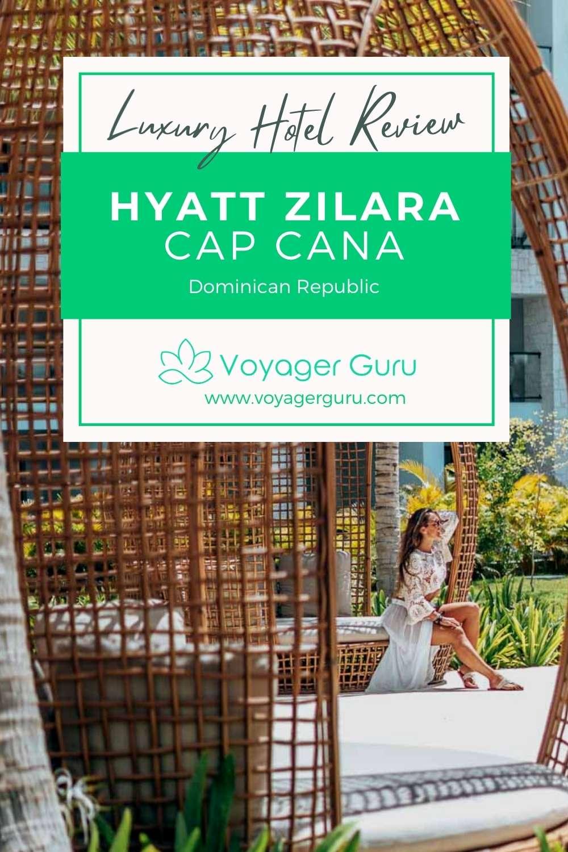 Pinterest Pin for Hyatt Zilara Cap Cana woman on chair