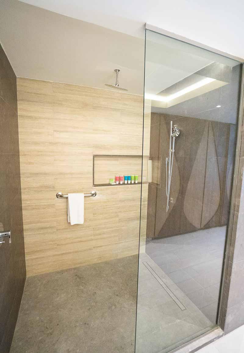 shower in hotel suite