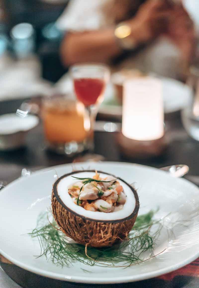ceviche in coconut