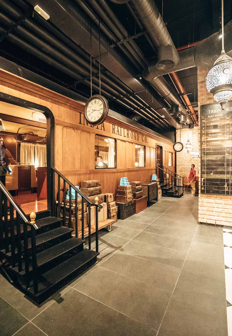train car in restaurant