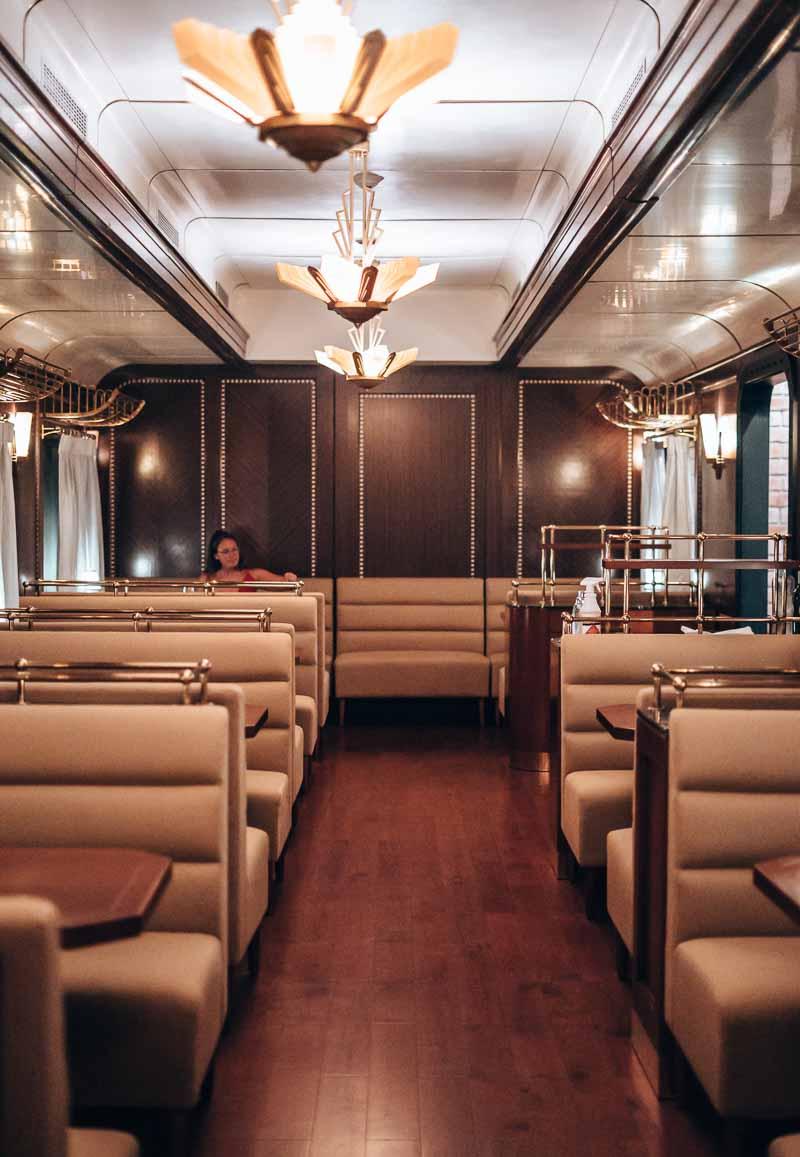 dining in train car