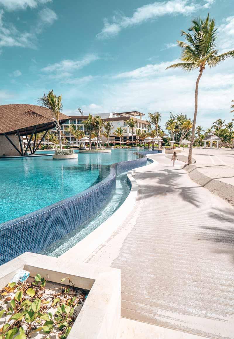 pool in beachfront hotel