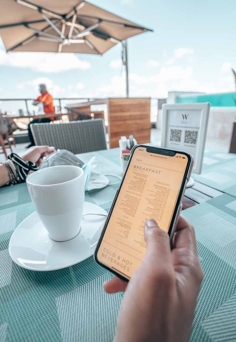 QR code menus dining JW Marriott Santo Domingo