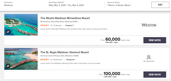 marriott rewards redemption rates aruba
