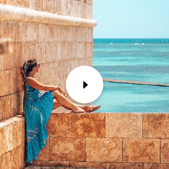 woman sitting on castle