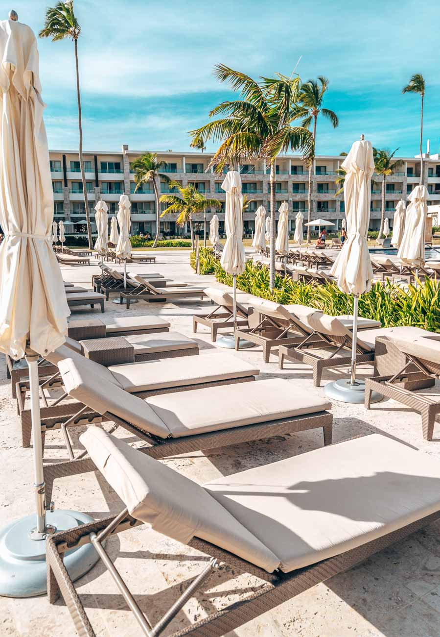 pool chairs at modern resort