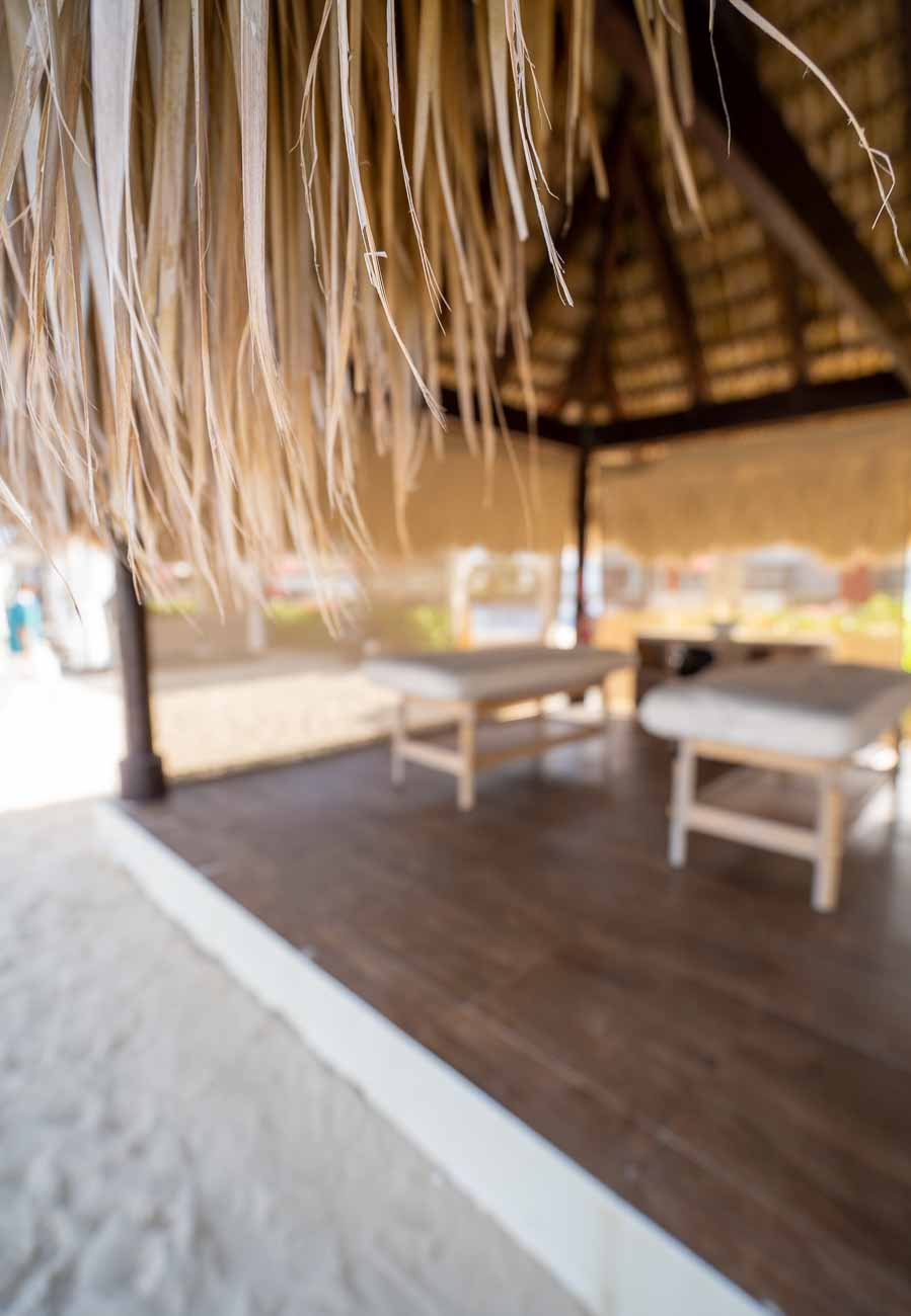 outdoor massage tables on beach