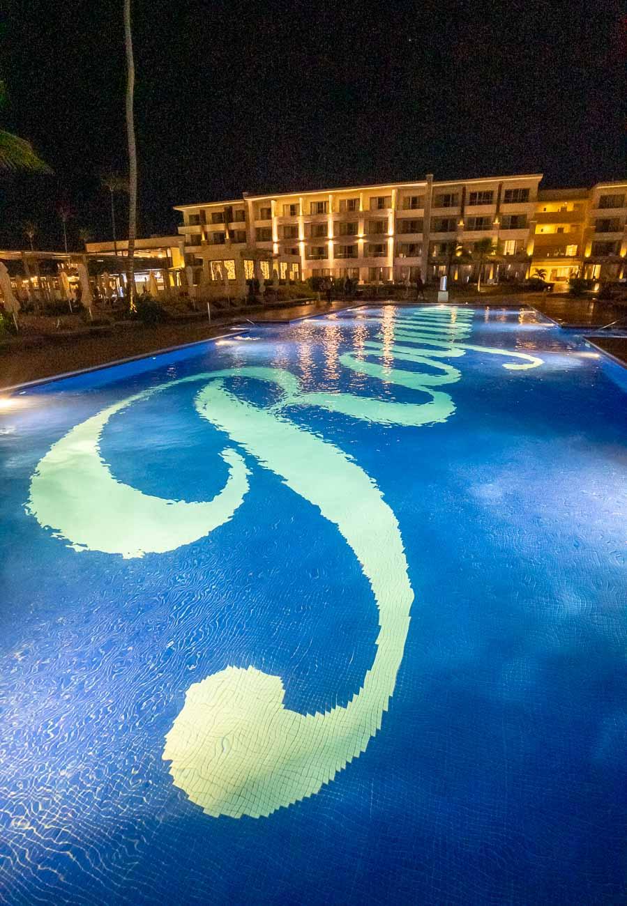 night view of pool at resort