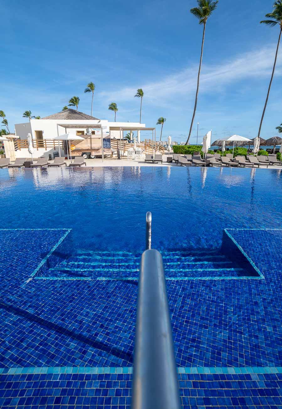 blue swimming pool at modern resort