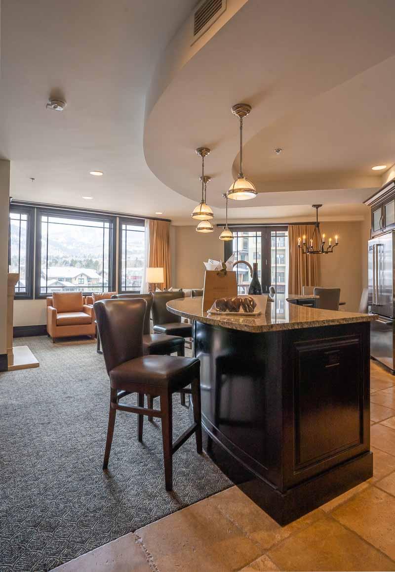 Waldorf Park City king bed suite kitchen
