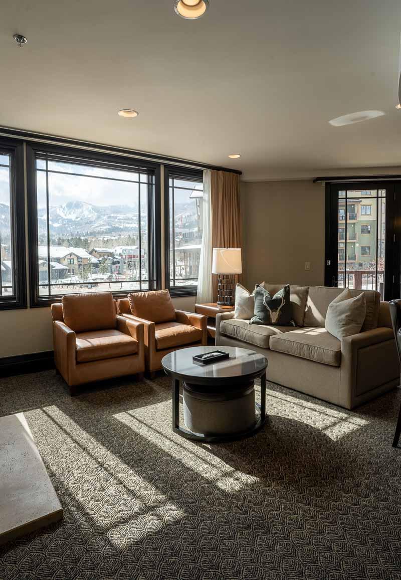 Waldorf Park City king bed suite living room