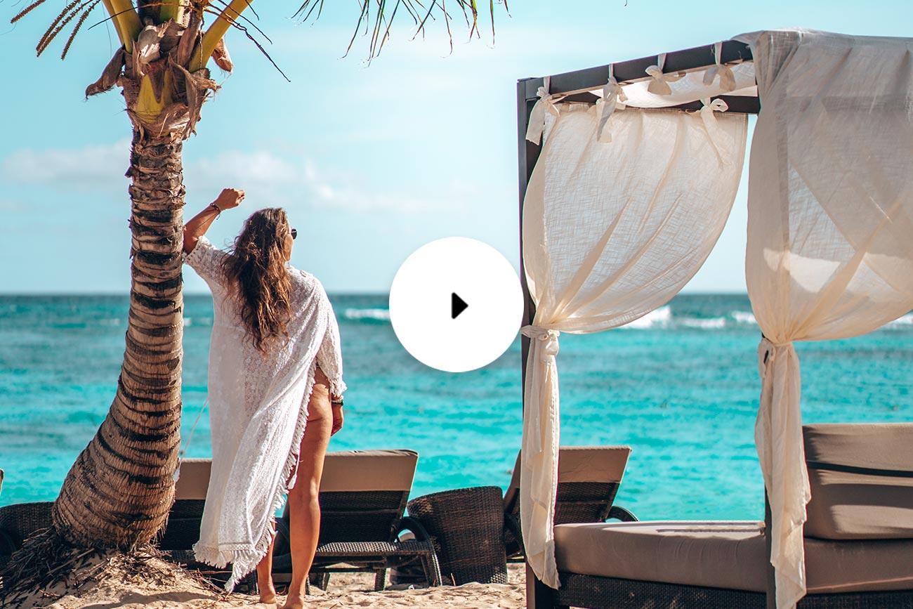 woman on beach video