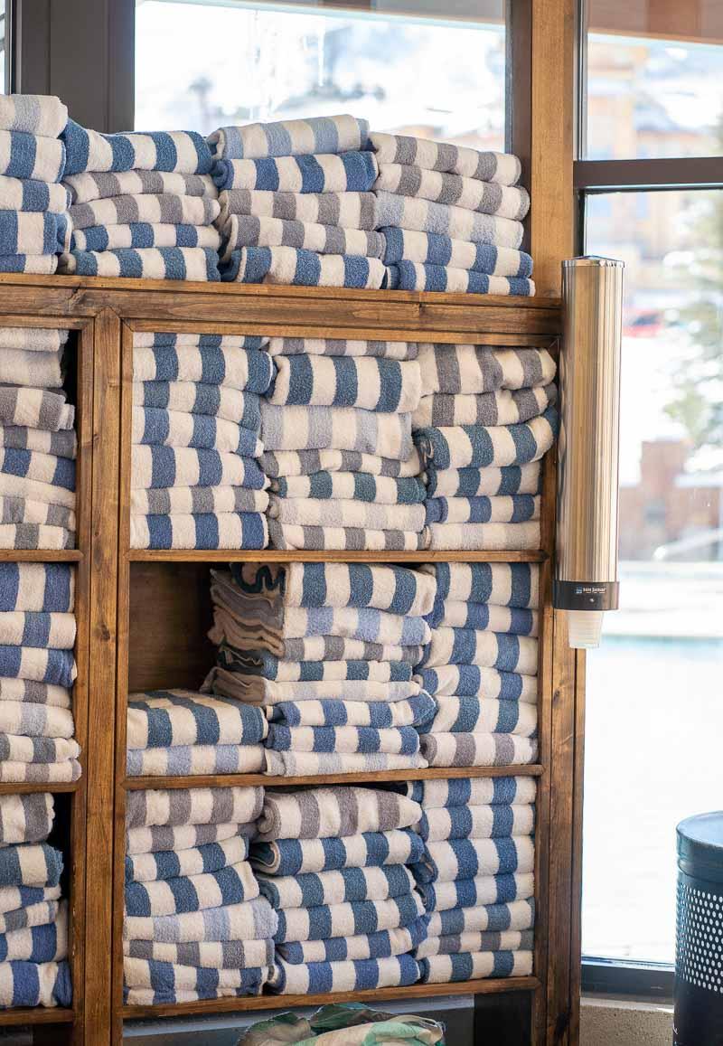 towel rack at pool area grand summit park city