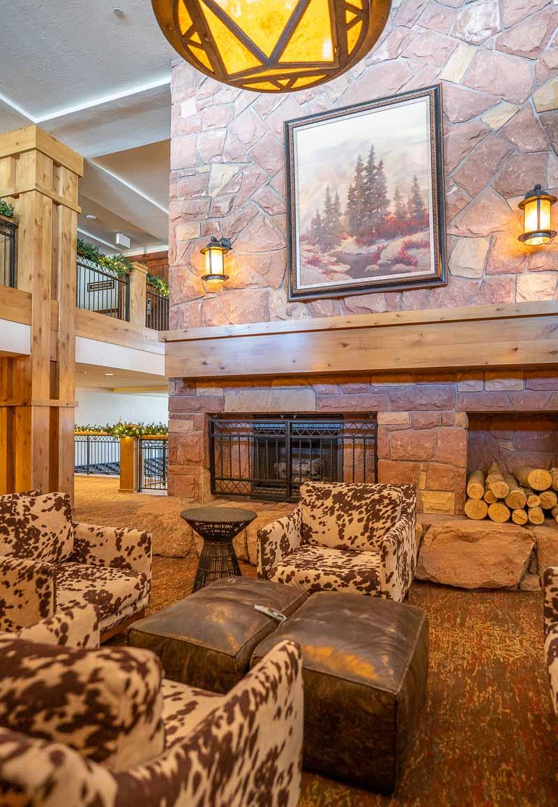 hotel lobby cow print chairs grand summit park city