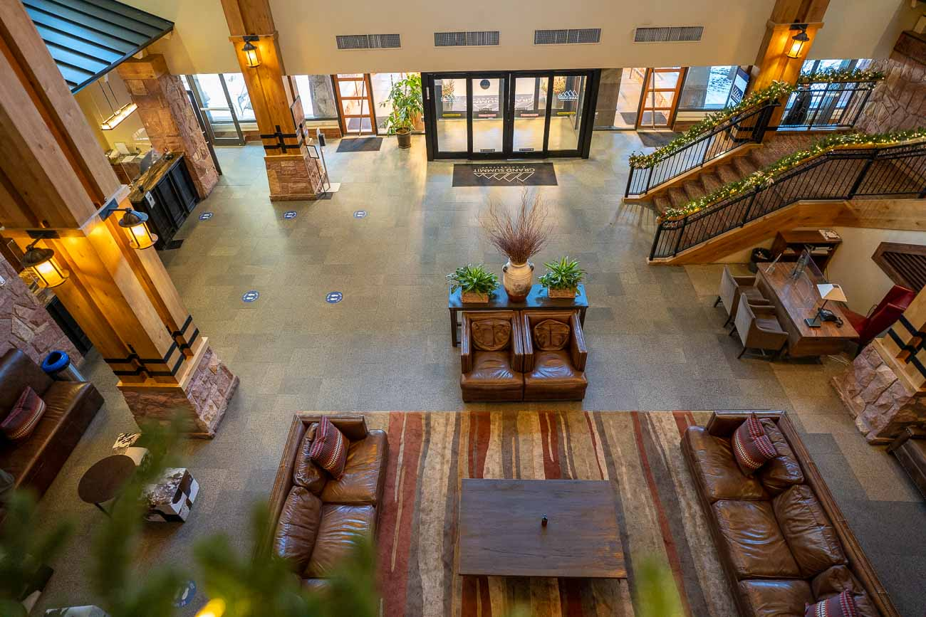 hotel lobby from above