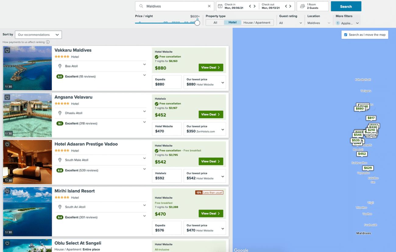 booking hotels in the maldives trivago screenshot