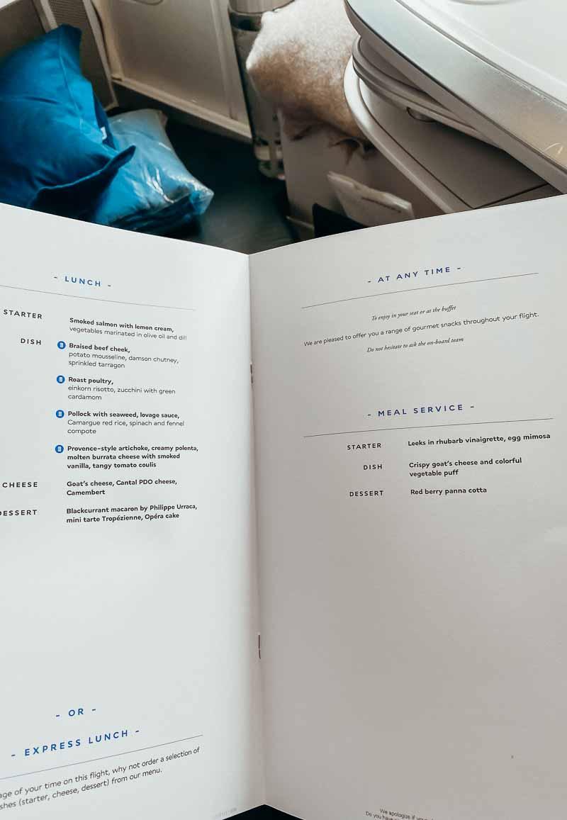Wine list air france business